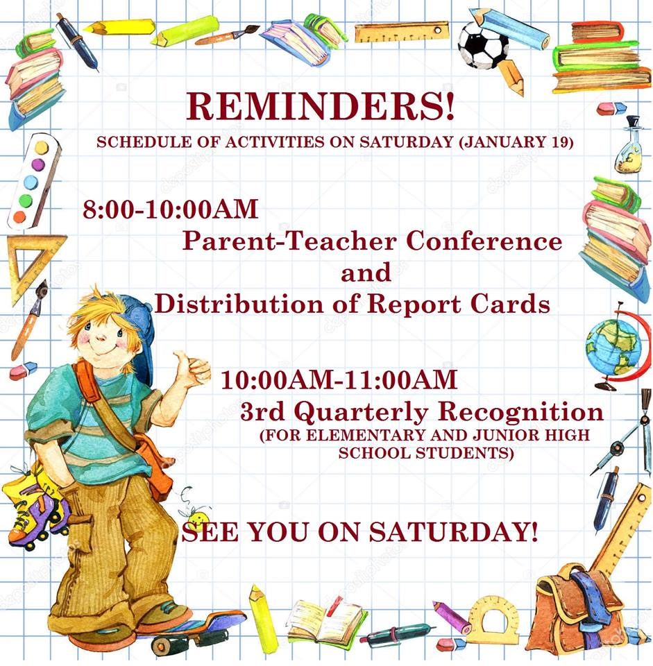 Schedule Of Activities on Saturday January 19, 2019