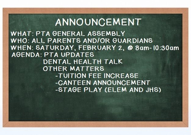 PTA General Assembly – February 2, 2019